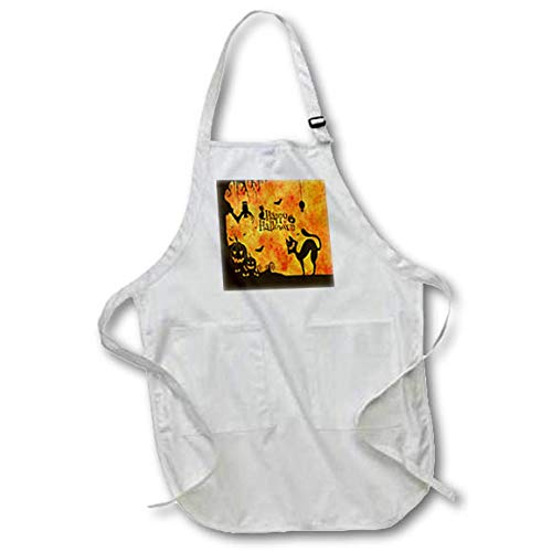 3dRose Sandy Mertens Halloween Designs - Cat, Owl, Bats, Spider, Jack o Lanterns Silhouettes, 3drsmm - Full Length Apron with Pockets 22w x 30l (apr_290231_1) ()