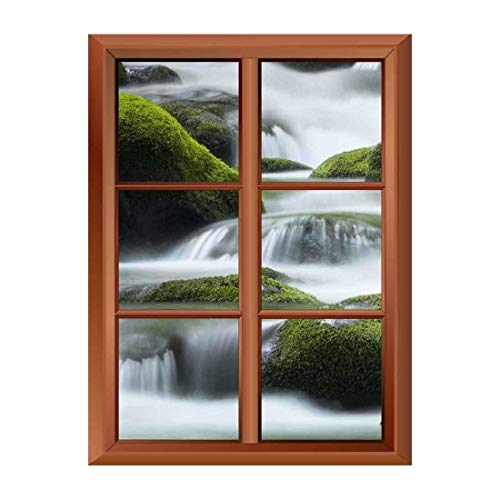 Removable Wall Sticker Wall Mural Cascading Water over Bright Green Moss Covered Boulders in Tennessee Creative Window View Vinyl Sticker