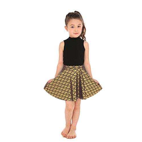 Lesubuy Gold Shiny Fish Scales Mermaid Skirts for Girls Medium (Fish Gold)
