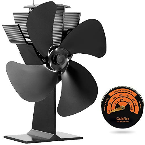 GALAFIRE [ 2 Years ] Eco Heat Powered Wood Stove Fan for Gas/Pellet/Log/Wood Buring Stoves, Fireplace Fan 4 Blade Black + Stove Thermometer (Fan Wood Heater For)