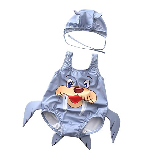 Jeterndy Girls one-Piece Swimsuit Baby Kids Cute Walrus Pattern One-Piece Swimwear with Hat Carton Swimsuit Swimming Costume Jumpsuit 1-3 Years Children's Swimsuit (Color : Gray, Size : XXL) ()