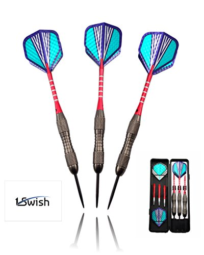 1Swish Steel Tip Pro Darts Set - 3 Tungsten Barrels 21 Grams, 3 Red Aluminium and 3 Nylon Shafts, 6 Metallic Flights & 1 Slim Case for Accessories (Outdoor Electronic Scoreboard)
