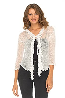 SHU-SHI Womens Sheer Shrug Cardigan Sweater Lightweight Knitted With Ruffle Solid Colors