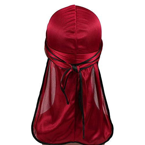 Men's Silky Durags Biker Headwear Bandana Turban Hat Wigs Doo Durag Biker Headwear Headband Pirate Hair Accessories (Burgundy)