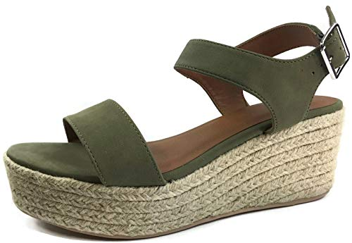 Cityclassified Womens Wedge Espadrilles Jute Rope Trim Ankle Strap Open Toe Sandals, Khaki, 6