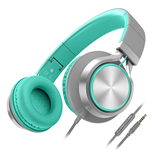 Besom i77 Foldable Headphones with Microphone and Volume Control,Adjustable Wired On-Ear Stereo Bass Earphones for Cellphones Smartphone Tablet Laptop MP3/4Grey/Mint