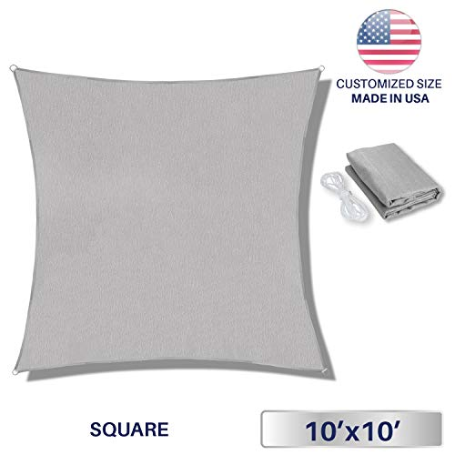 Windscreen4less Sun Shade Sail Light Grey 10 x 10 Square Patio Permeable Fabric UV Block Perfect for Outdoor Patio Backyard – Customize Available