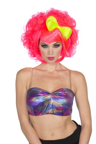 [Rubie's Costume and Bow Cutie Doll Wig, Neon Pink/Green, One Size] (Neon Green Wigs)
