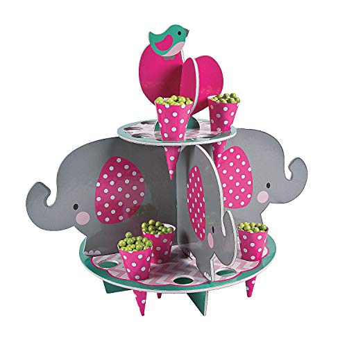 Fun Express - 1st Pink Elephant Treat Stand W/Cones for Birthday - Party Supplies - Serveware & Barware - Misc Serveware & Barware - Birthday - 25 Pieces