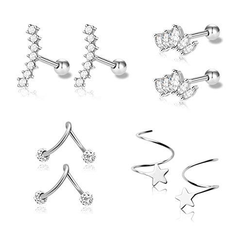 1-4 Pairs Stainless Steel Silver Ear Cartilage Earrings for Women Girls Tragus Helix Earring Cute Conch Flat Back Piercing Jewelry 16G (Style A) (Helix Piercing Jewelry)