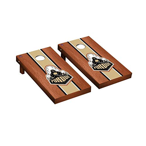 Victory Tailgate Regulation Collegiate NCAA Rosewood Stained Stripe Series Cornhole Board Set - 2 Boards, 8 Bags - Purdue Boilermakers