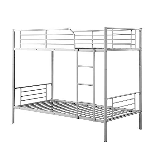 Contemporary Steel Bed - Steel Bunk Bed Twin Over Twin,JULYFOX Modern Metal Steel Bed Frame 550 lb Heavy Duty W/Stairs Side Guard Rails 10.8 inch Storage No Box Spring Needed 2 Twin Bed Platform for Kids Teens Adults Silver
