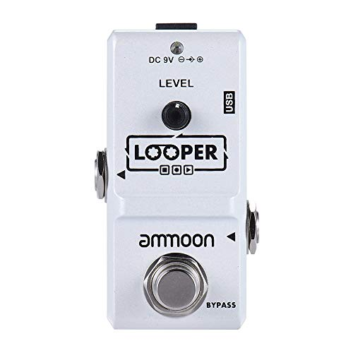 ammoon Electric Guitar Effect Pedal Looper True Bypass Unlimited Overdubs 10 Minutes Recording with USB Cable (Loop Guitar)