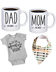 """Pregnancy Gift Est 2022 - New Mom and Dad Est 2022 11 oz Mug Heart Set with""""Let Adventure Begin"""" Romper (0-3 Months) - Top Mom and Dad Gift Set for New and Expecting Parents to Be - Baby Shower"""