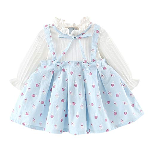 Girls Dresses Baby Toddler Kids Long Sleeve Ruffle Printed Bow Clothes Outfit for 0-2 Years (12-18 Months, Light Blue)