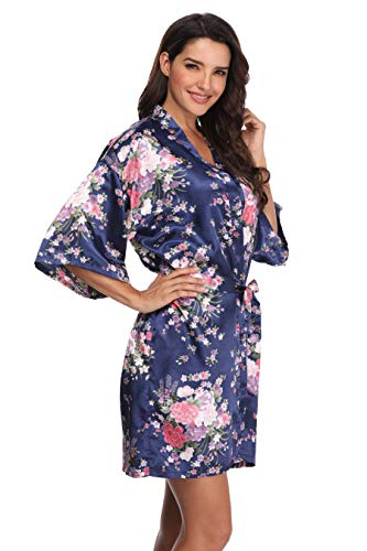Mignon Cromwell Women's Floral Bride Bridesmaids Robe Satin Wedding Kimono Bridal Dressing Gown Sleepwear, Navy, M