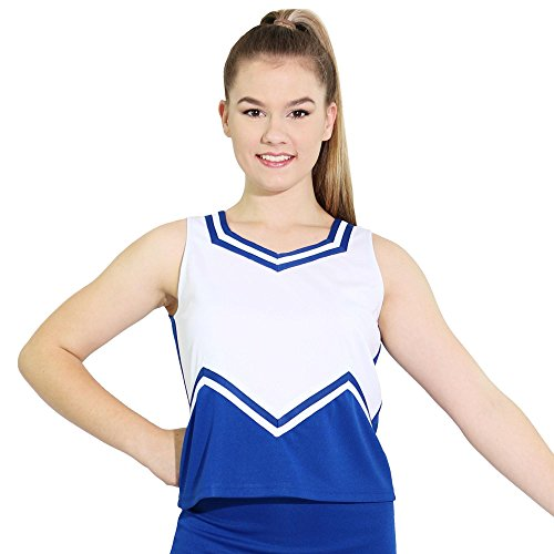 Danzcue Womens M Sweetheart Cheerleaders Uniform Shell Top, Royal/White, X-Small