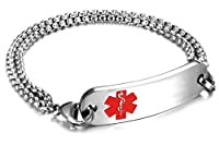 JF.JEWELRY Customize Medical Alert Bracelets for Women with Stainless Steel Rolo Link,6.5-8.0 inch