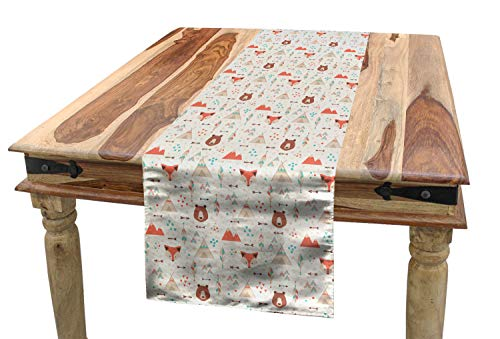 (Ambesonne Tribal Table Runner, Cute Ethnic Primitive Fox Arrows Bear Lodge Houses Feather Graphic, Dining Room Kitchen Rectangular Runner, 16 W X 72 L Inches, White Salmon Amber Teal)