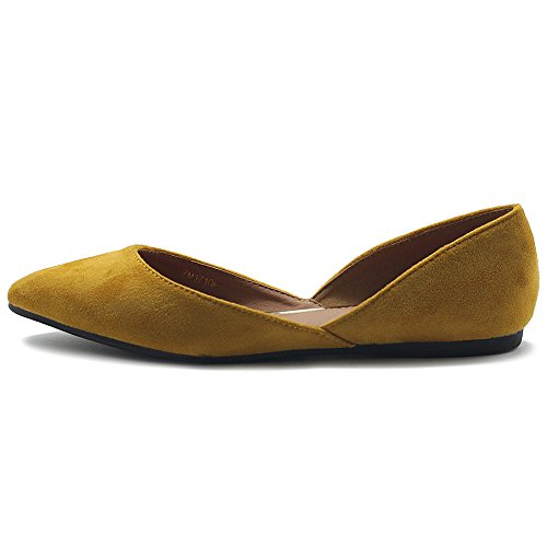 Shoes Ollio Suede Pointed Slip Faux Light Ballet Toe Women's Flat Mustard on Comfort pqq6H