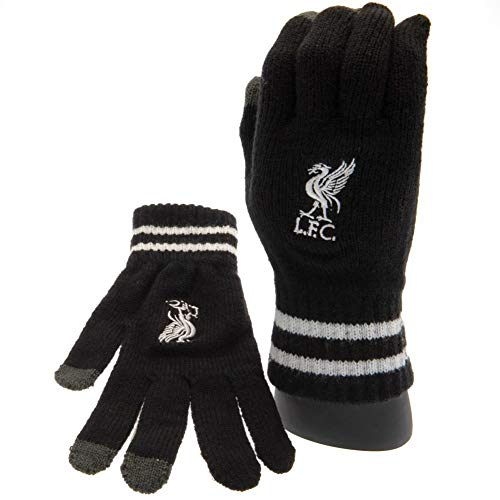 Liverpool FC Official Adults Unisex Touch Screen Knitted Gloves (One Size) (Black/White)
