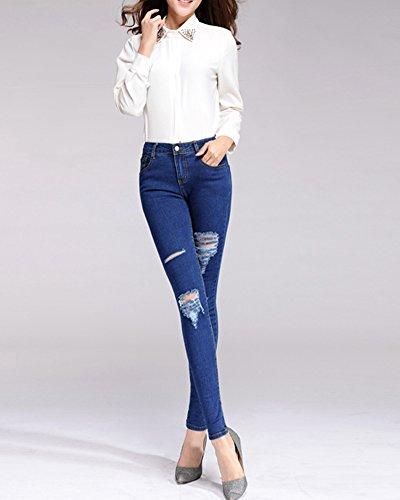 Vita Scuro Blu Jeans Skinny Pantaloni Stirata Alta Donne tpq1w