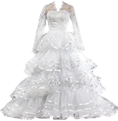 ANTS Vintage Tiered Organza Lace Long Sleeve Wedding Dress For Bride Size 26W US White