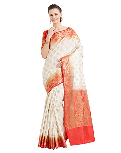Viva N Diva Sarees For Women's Banarasi Latest Design Cream & Red Colour Banarasi Art Silk (Two Tone Silk) Saree With Un-Stiched Blouse Piece,Free Size (Saree Red)