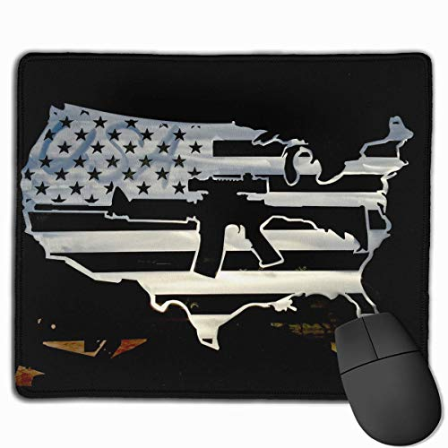 American Flag Map Gun Quality Comfortable Game Base Mouse Pad with Stitched Edges Size 11.81 9.84 Inch]()