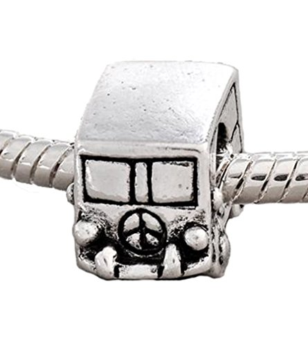 Antique Silver Car Automobile Volkswagon Van Peace European Charm Bead