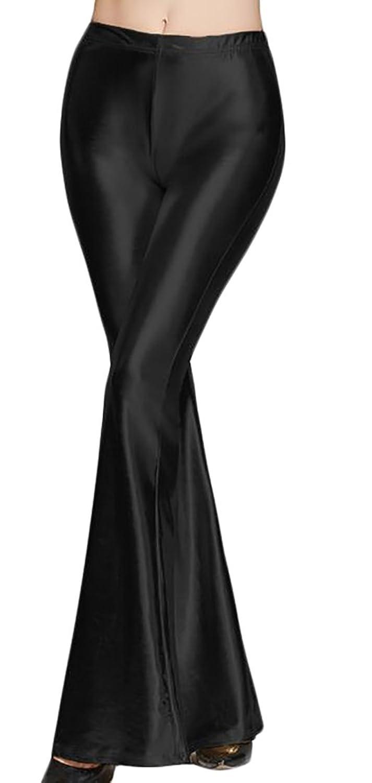 XTX Womens Vogue Elastic Waist Bodycon Sequins Flared Bell Bottom Pants