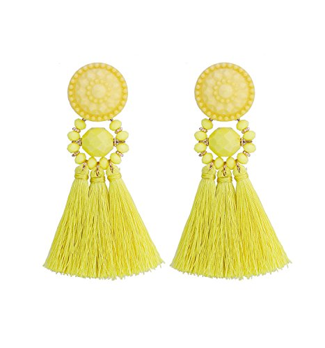 boderier Bohemian Statement Thread Tassel Chandelier Drop Dangle Earrings with Cassandra Button Stud (Yellow)