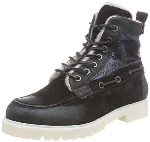 nobrand Goose - botas de caño bajo de cuero mujer negro - Schwarz (blue methalic)