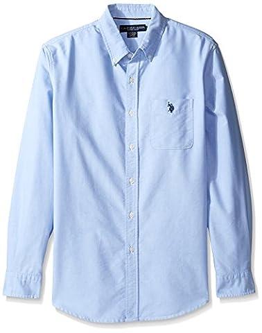 U.S. Polo Assn. Men's Solid Long Sleeve Classic Fit Single Pocket Sport Shirt, Light Blue, M