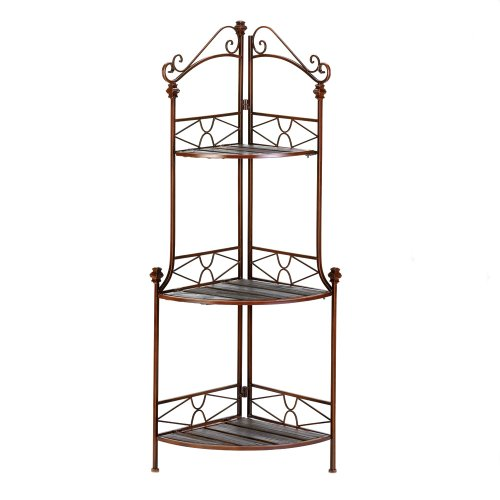 Rustic Style Metal Scrollwork Corner Bakers Rack Shelves by VGCE
