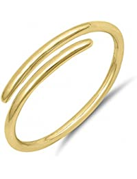 .925 Sterling Silver Simple Plain Minimal Design Open Midi Finger Wire Ring Sizes 2-10