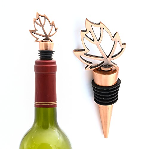 HansGo 2 Pcs Bottle Stopper Beverage Sealer Cover, Maple Leaf Wine Stopper (Gold Leaf Wine)