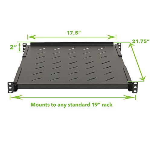 NavePoint Fixed Rack Vented Server Shelf 1U 19'' 4 post Rack Mount Adjustable from 17-33 by NavePoint