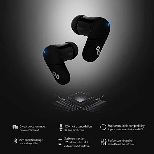 CrossBeats Air True Wireless Bluetooth Earphones Earbuds Headphones with Mic and Portable Charging Dock (Black) 7