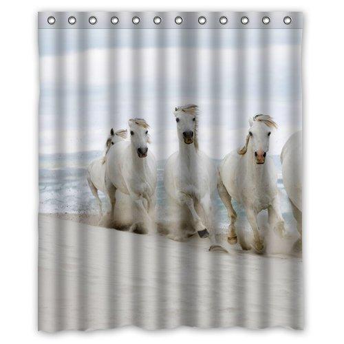 Great design six white horse on the seaside Custom Shower Curtain 60x72 Inch Cute