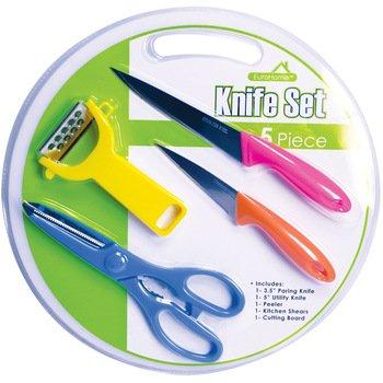 EuroHome 2266944 Knife Set with Cutting Board44; 5 Piece by EuroHome
