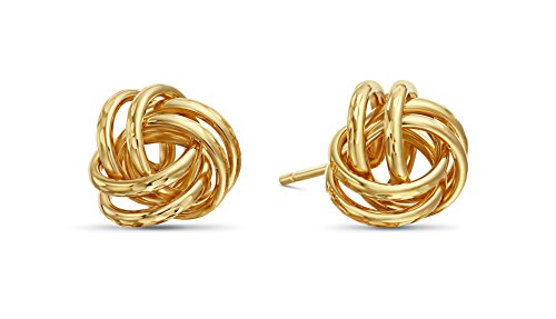14k Yellow Gold Diamond-Cut Love Knot Stud Earrings (Knot Gold 14k Earrings Yellow)