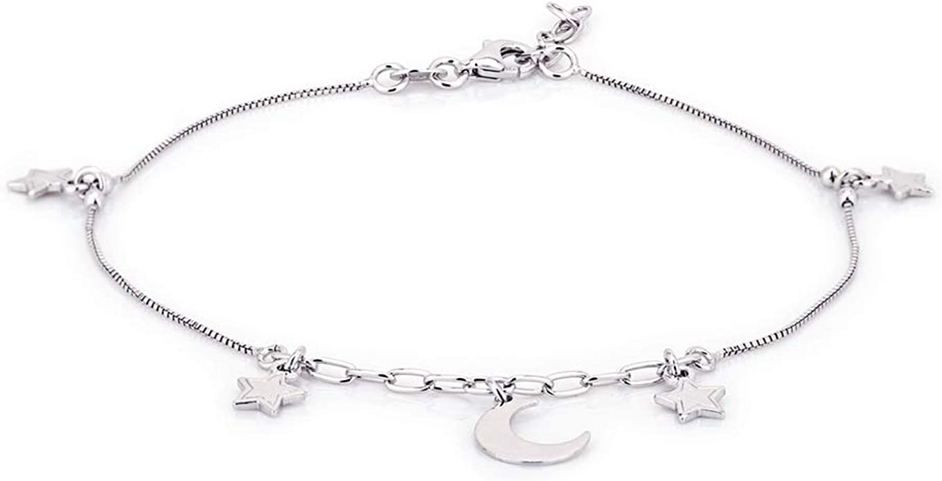 Vanbelle Rhodium Plated 925 Sterling Silver Double Layered Chain with Infinity Charm Anklet for Women and Girls