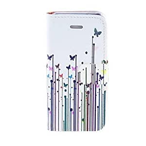 DUR Kinston Grass Butterfly Pattern PU Leather Full Body Case with Stand for iPhone 5/5S