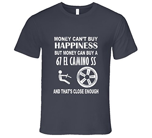 Money Cant Buy Happiness 1967 Chevrolet EL Camino SS Dark Distressed T Shirt L Charcoal Grey (1973 El Camino Ss 454 For Sale)