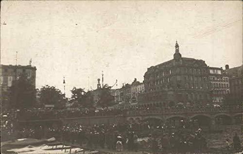 Crowds of People on Bridge Europe Events Original Vintage Postcard from CardCow Vintage Postcards
