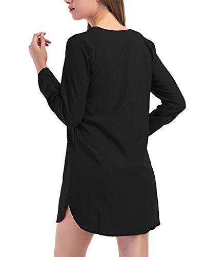 Femme Lache Sexy Casual Croises Noir Longues Hauts Chemise T Shirt Manches Bande Sangles Top Auxo C0dad
