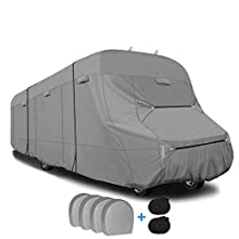 RVMasking Upgraded 6-ply Top Class C RV Cover fits 29' - 32' Rvs, with 2 Extra Windprood Straps, 4 Tire Covers, Adhesive Repair Patch