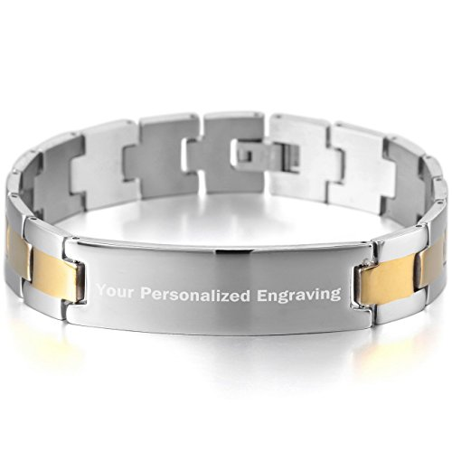MeMeDIY Silver Gold Two Tone Stainless Steel Bracelet Link Polished - Customized Engraving