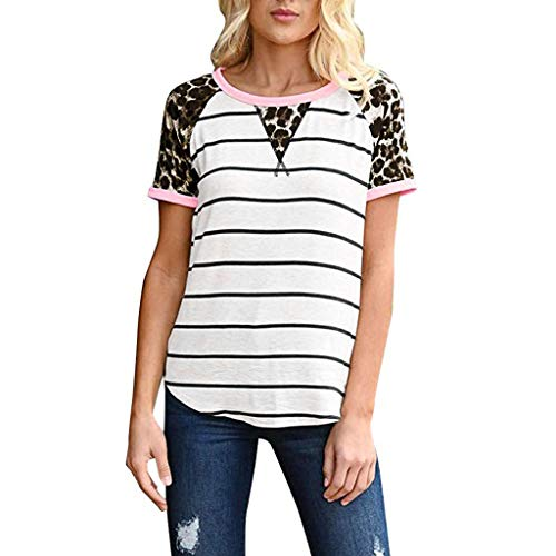 Sunhusing Ladies Summer Stylish Sexy Leopard Stitching Stripe Print Crew Neck Short Sleeve T-Shirt Top White